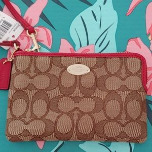 NWT AUTHENTIC COACH WRISTLET Brown/Tan/Red